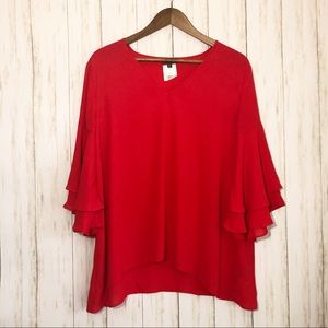 The Limited Red Ruffle Sleeve Blouse Large